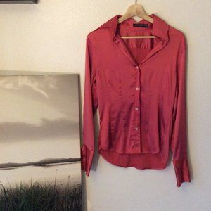 The Limited Pink Silk Button Up Blouse